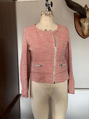 IRO Jacket Size 3- (uk 10/12) Red With Silver Lurex