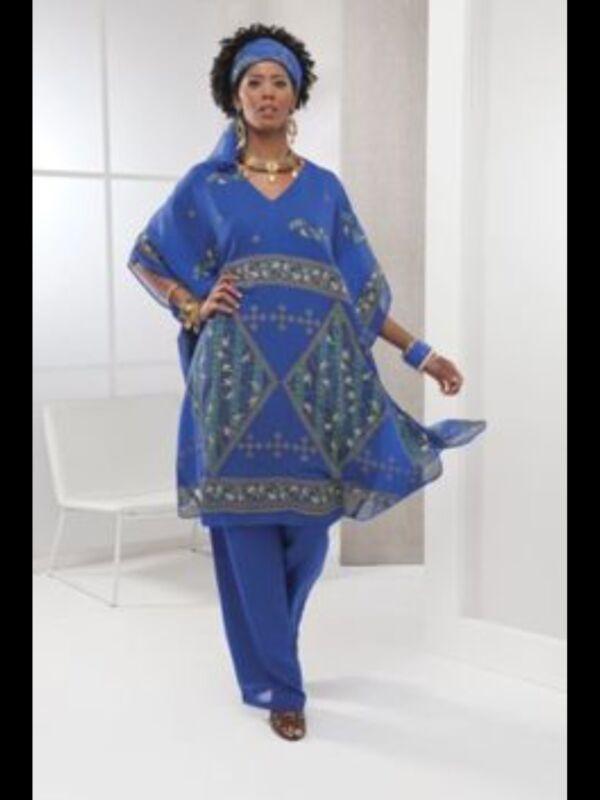 Ashro Blue Ethnic African American Pride Pant Suit Goddess & Head Scarf S M 1X