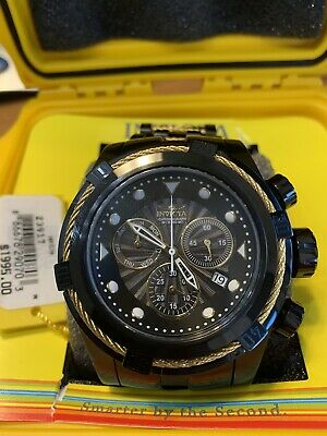 Men's Invicta 52MM Bolt ZEUS Swiss Chronograph COMBAT Black Gold Cables SS Watch