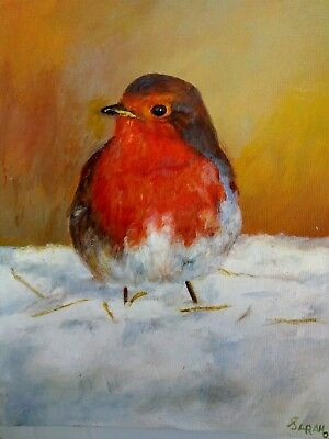 Original oil painting Robin on canvas board gift paintings varnished birds