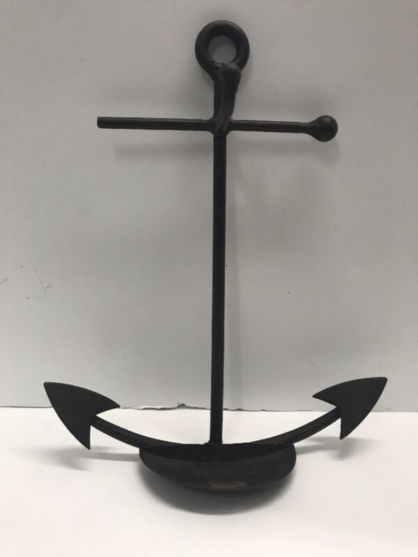 "Vintage Nautical Anchor Rustic Wrought Iron Wall Decor Sea Ocean 11"" Tall"