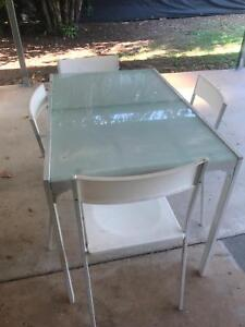 White glass top table