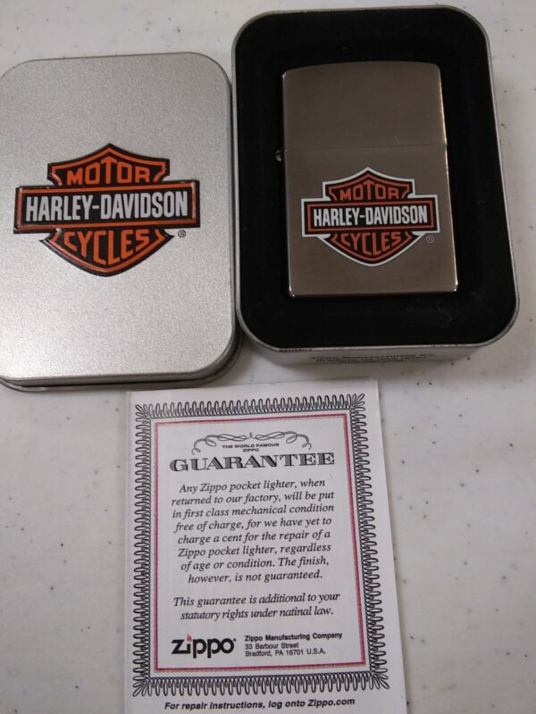 NOS Harley Davidson Zippo. Classic orange & white Bar & Shield
