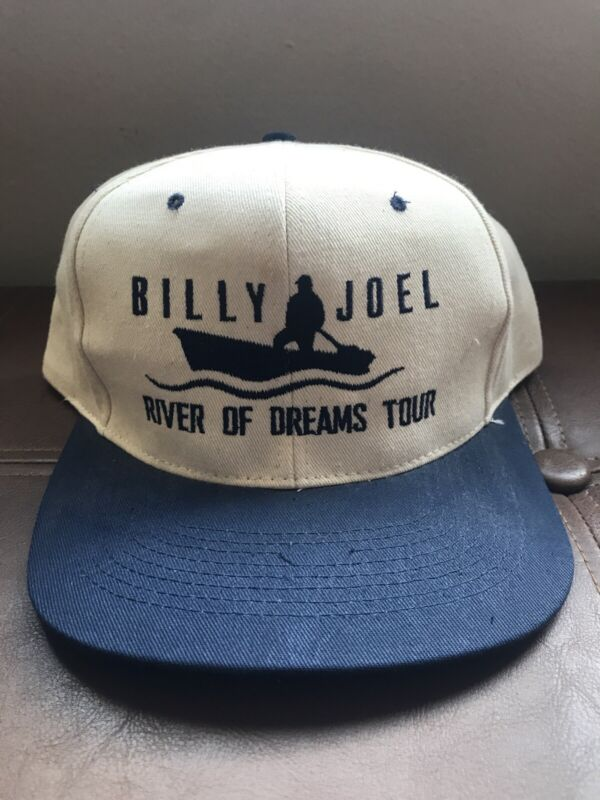 Vintage Rare Billy Joel River Of Dreams Concert Tour Cap Hat Beige Navy/Blue