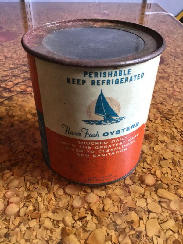 Vintage Florida Packed Oysters LEMON BAY FISHERIES ENGLEWOOD FLA. FLA28 Embossed