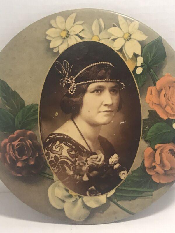Vtg Victorian Flue Chimney Cover Woman Photograph Portrait Painted 1238