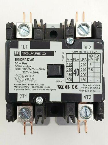 Square D 8910 DPA42V09 40 Amp 2 Pole 208-240V Coil Definite Purpose Contactor