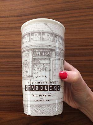 First Starbucks Pike Place Limited Ceramic Tumbler Traveler Sketch 12oz