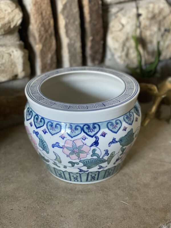 Oriental fishbowl planter, Hand Painted With pink flowers