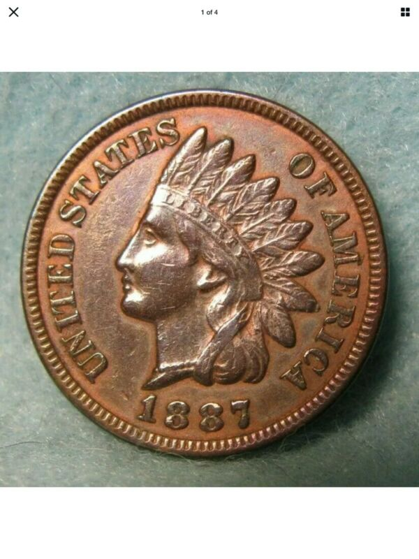 1887 Indian Head Penny Cent High Grade With Liberty & Diamonds * US Coin