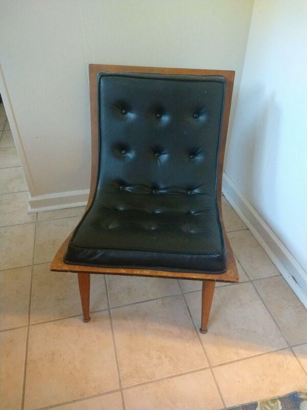Vintage Mid Century Modern Bentwood Tufted Scoop Chair Baughman Era