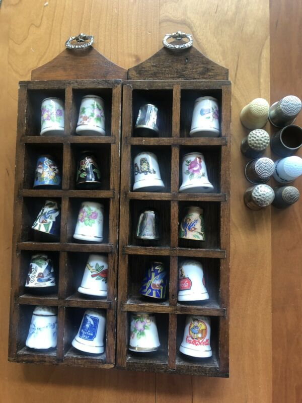 THIMBLE COLLECTION - LOT OF 27- CLOISONNE ABALONE CERAMIC W/ DISPLAY SHELVES