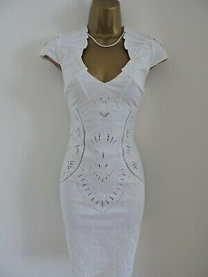 Karen Millen Size UK 12 White Cotton Embroidery Summer Dress