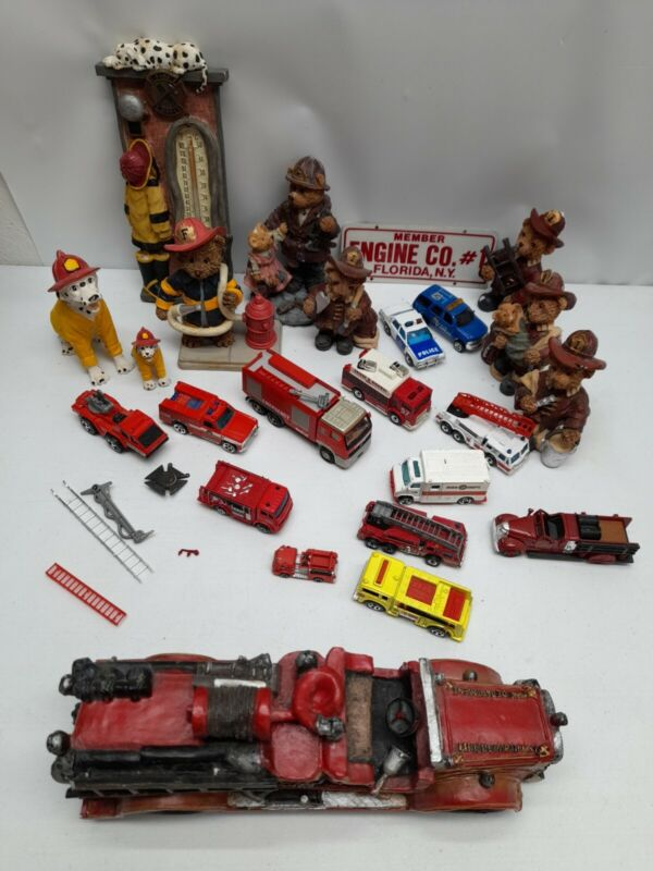 Lot 24 Firefighters Police cars Trucks Teddy bears Dalmations Dog firefighters