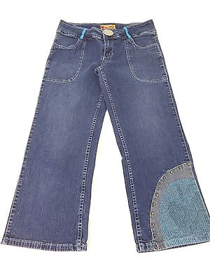 APPLE BOTTOMS WOMENS BLUE DARK WASH COTTON CROPPED CAPRI'S SIZE 9 SUPER CUTE