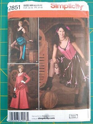 Simplicity 2851 Westworld Western Saloon Girl Burlesque Can-Can Costume Old 6-12