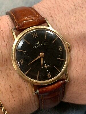 Vintage 14k Solid Gold Hamilton Men's Watch Nice Leather Band Working Well!!