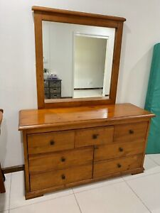 Solid timber dresser with mirror