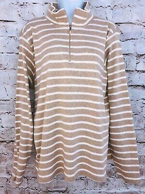 NWOT LL Bean Size XL Peruvian Rib Knit Cotton French Sailor's Stripe 1/4 Zip -
