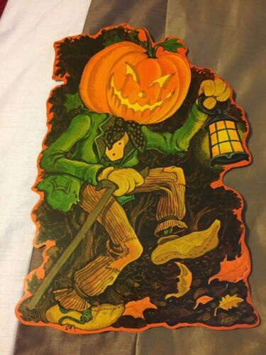 "NEW VTG JACK O LANTERN MAN DIE CUT CURRENT 1980 16""X 10"""