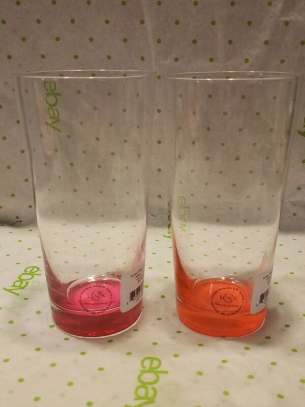 LENOX KATE SPADE FLYNN STREET HIGHBALL drinking glass 16oz Set of 2 Pink Orange