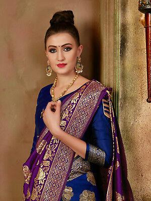 Woven Sari - Indian Sari Saree Pakistani Traditional Purple Woven Banarasi Art Silk -3843