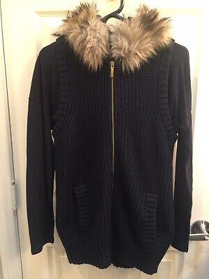 Michael Kors Dark Navy Sweater Set Vest Faux Fur Hood NWOT!!!!! Hood Vest Set