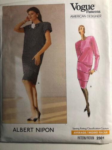 VOGUE 2301 Albert Nipon Dress - American Designer Sewing Pattern Size: 14-16-18