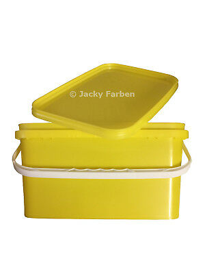 2,5 Ltr leer Eimer eckig gelb mit gelbem Deckel AnrühreimerLeereimer