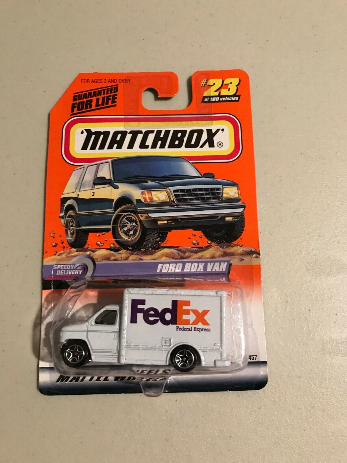 FedEx Delivery Truck Matchbox 23 New On Card Ford Box Van Speedy Delivery 1999 - $7.00