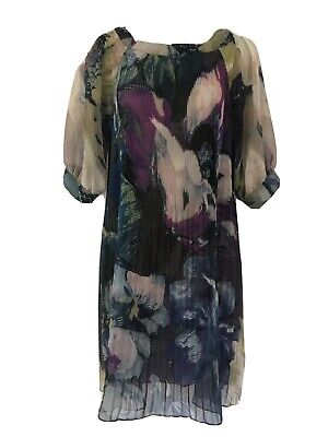 Ted Baker Amli Grey Floral Plisse Pleat A-Line Cocktail Party Evening Dress 0