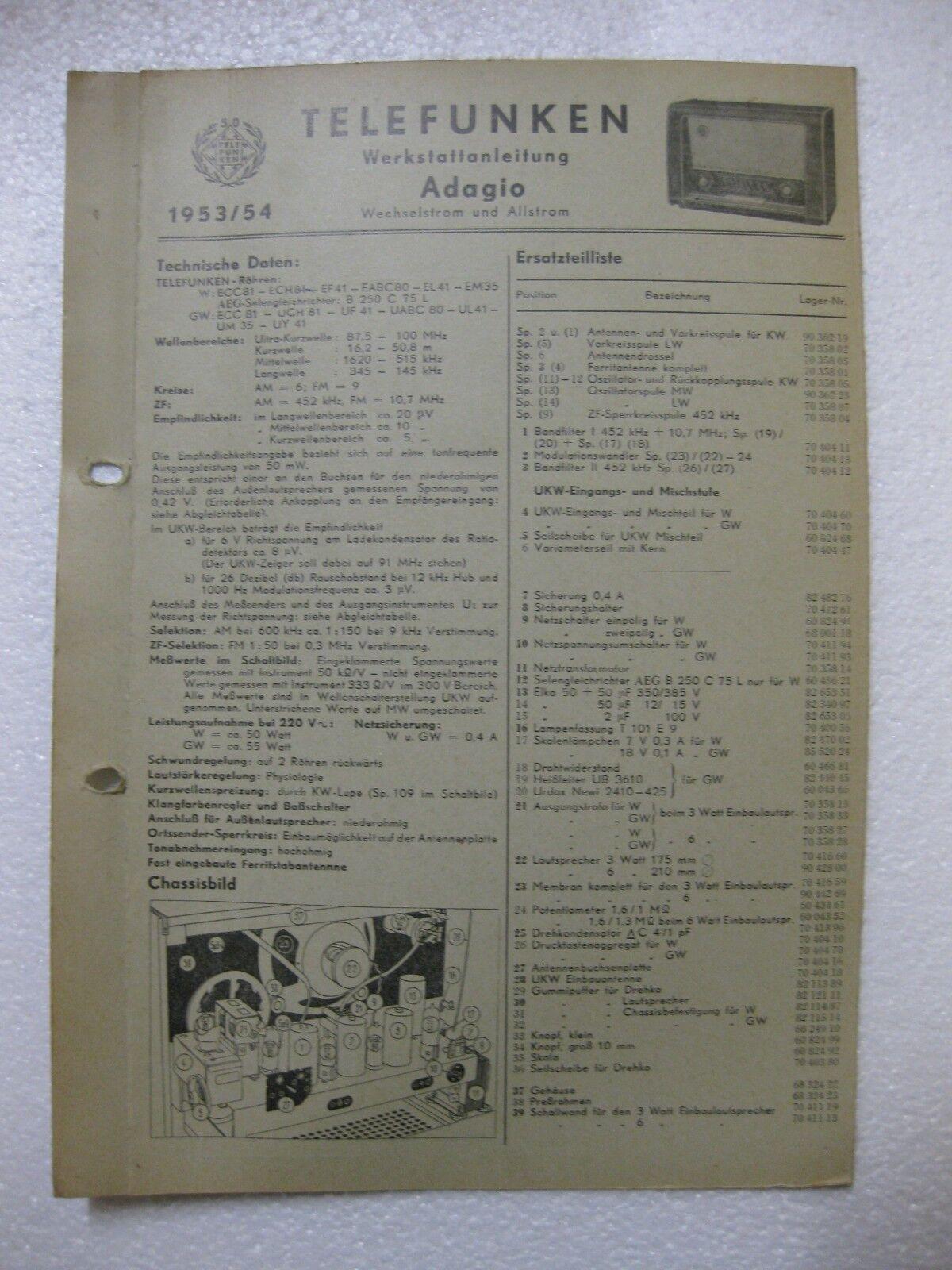 TELEFUNKEN Adagio Werkstattanleitung / Schaltbild Original 1953/54