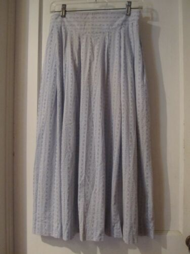 Vintage LAURA ASHLEY Blue Floral Pleated Cotton Skirt, Womens Size US 12