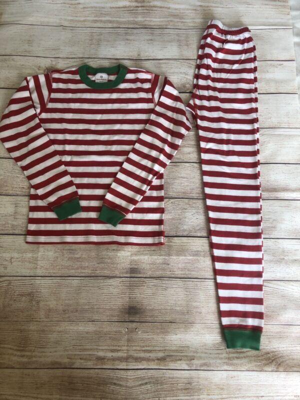 Hanna Andersson Sz 160 / Size 14 Pajama Set Organic Cotton Red White Striped