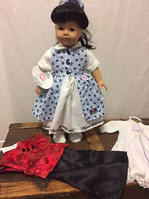 """New! NWT Gotz Asian doll black hair brown eyes 18"""" with 3 new outfits"""