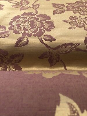 Upholstery Fabric By The Yard Mauve Gold Shimmer Rose Floral Polyester BTY