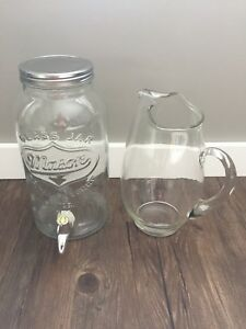 Glass drink dispenser and glass picture