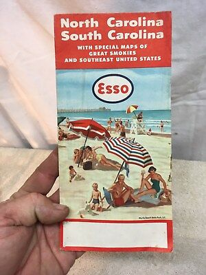 Vintage Esso Gas Myrtle Beach State Park Map North South Smoky Mountain Park