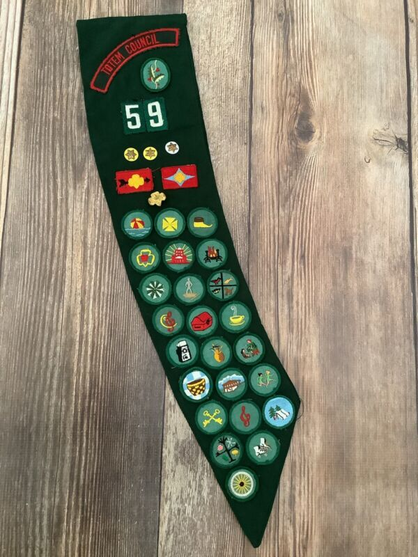 Vintage 1960s Girl Scouts Sash with Badges Pins Patches Seattle Totem Council