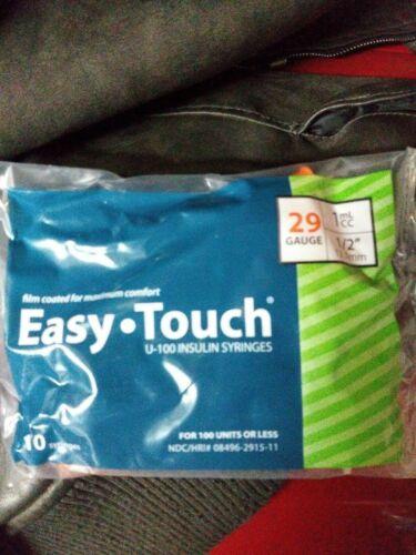 Easy Touch 29 Gauge 1ml/cc 12.7mm U-100 Insulin Syringes x-10 Discrete FAST SHIP