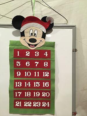 "Disney 19"" Advent Calendar Mickey Mouse Christmas Santa Felt"