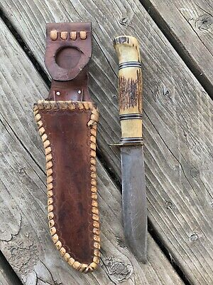 MORSETH THREE PIECE STAG EARLY 50's HUNTING KNIFE EVERETT WA