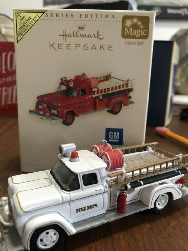 Hallmark Keepsake Ornament 2006 1961 GMC Fire Brigade Artist Signing Repaint