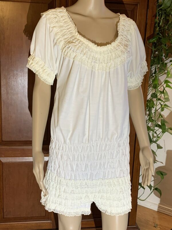 Vintage White Lace Romper Teddy Negligee PIN UP Victorian Step In Bodysuit 50's