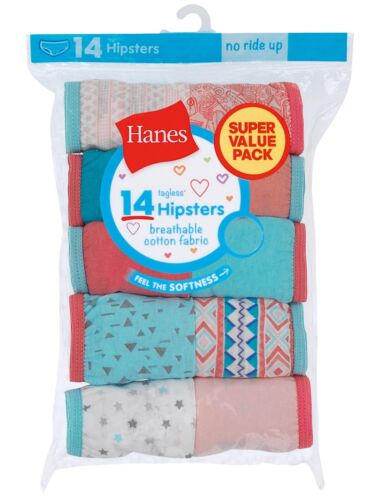 Hanes Girls Tagless Hipsters Underwear 14 Pack Panties Sizes 6 - 16 Choose Size