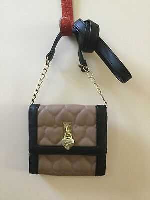 BETSEY JOHNSON SHOULDER BAG/CROSSBODY BROWN BLACK TRIM 6 1/2x6 1/2 x1 INCH
