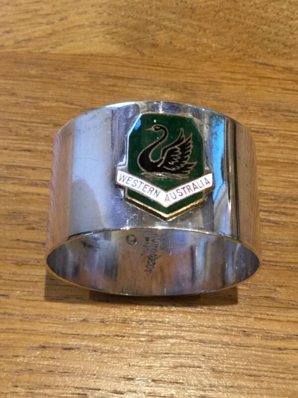 SILVER PLATED AUSTRALIAN NAPKIN RING WITH ENAMEL COAT OF ARMS FOR WA