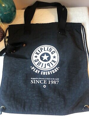 Kipling Drawstring Black Tote /Shopping Bag with Monkey🐒