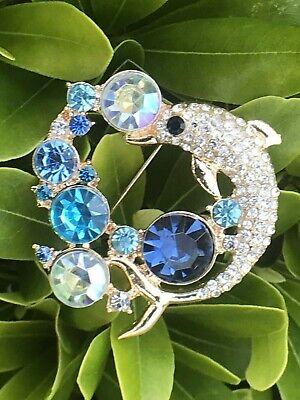 Crystal Rhinestone Pin Brooch Vintage Pendant Dolphin Shark Aqua Blue Clear USA Turquoise Vintage Brooch