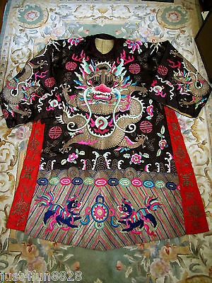 Exceptional Antique mi1800s Chinese Qing Dynasty embroidered silk Dragon Robe